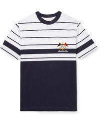 Aimé Leon Dore Logo-embroidered Striped Cotton-jersey T-shirt - Blue