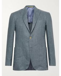 Canali Kei Slim-fit Unstructured Herringbone Linen Blazer - Blue