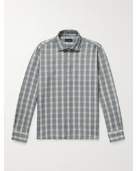 Peter Millar Checked Cotton-corduroy Shirt - Grey