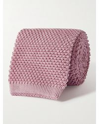 Anderson & Sheppard 7cm Knitted Silk Tie - Pink