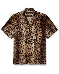 Neighborhood Camp-collar Leopard-print Faux Fur Shirt - Brown
