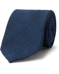 Anderson & Sheppard 9cm Wool And Silk-blend Tie - Blue