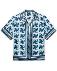 Dolce & Gabbana Camp-collar Printed Silk Shirt - Blue