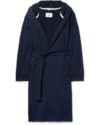 Reigning Champ Loopback Cotton-jersey Hooded Robe - Blue