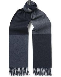 Begg & Co - Vigo Fringed Colour-block Wool And Cashmere-blend Scarf - Lyst