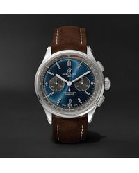 Breitling Premier B01 Automatic Chronograph 42mm Stainless Steel And Nubuck Watch, Ref. No. Ab0118221g1x1 - Blue