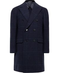 Canali Double-breasted Checked Wool And Cashmere-blend Overcoat - Blue