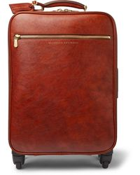 Brunello Cucinelli Burnished-leather Carry-on Suitcase - Brown