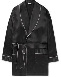 Zimmerli Piped Silk Robe - Black