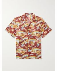 Go Barefoot Old Hawaii Camp-collar Printed Cotton Shirt - Red