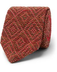 Missoni Knitted Wool And Silk-blend Tie - Red