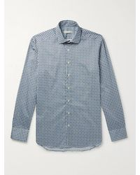 Etro Cutaway-collar Printed Cotton Shirt - Blue