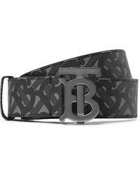Burberry 3.5cm Reversible Logo-print E-canvas And Leather Belt - Black