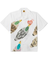 Human Made Camp-collar Printed Cotton-poplin Shirt - White