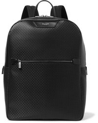 Serapian Leather-trimmed Stepan Coated-cotton Backpack - Black