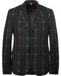 Gucci - Embroidered Checked Wool-twill Blazer - Lyst