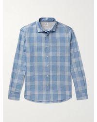 Brunello Cucinelli Checked Linen And Cotton-blend Shirt - Blue