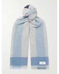 MR P. Fringed Colour-block Cashmere Scarf - Grey