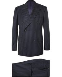 Kingsman Navy Harry Slim-fit Pinstriped Super 120s Wool And Cashmere-blend Suit - Blue