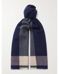 MR P. Fringed Colour-block Cashmere Scarf - Blue