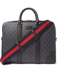 Gucci Leather-trimmed Monogrammed Coated-canvas Briefcase - Black