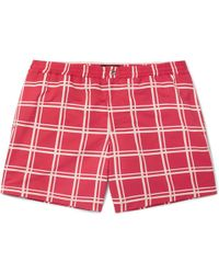 Tod's Short-length Checked Swim Shorts - Red