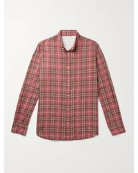 Officine Generale Antime Button-down Collar Checked Stretch-cotton Shirt - Pink
