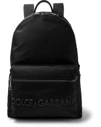 Dolce & Gabbana Logo-appliquéd Leather-trimmed Shell Backpack - Black