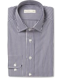 Etro - Navy Slim-fit Striped Cotton-poplin Shirt - Lyst