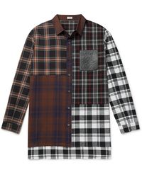 Loewe Leather-trimmed Patchwork Checked Cotton-flannel Shirt - Brown