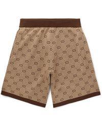Gucci Wide-leg Logo-jacquard Wool And Cotton-blend Shorts - Brown
