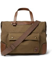 Belstaff - Colonial Leather-trimmed Canvas Bag - Lyst