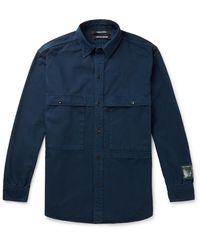 Reese Cooper Printed Herringbone Cotton Shirt - Blue