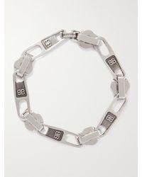 Balenciaga Logo-embossed Silver-tone Bracelet - Metallic