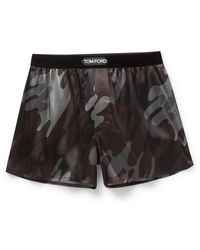 Tom Ford Camouflage-print Stretch-silk Boxer Shorts - Brown