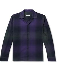Saturdays NYC Marco Camp-collar Checked Cotton-flannel Shirt - Purple