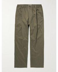 Studio Nicholson Bryd Straight-leg Pleated Cotton-blend Twill Trousers - Green