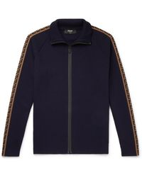 Fendi Logo-jacquard Wool Zip-up Track Jacket - Blue