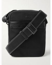 BOSS by HUGO BOSS Leather-trimmed Nylon Messenger Bag - Black