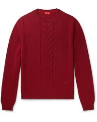 Isaia Slim-fit Cable-knit Wool Jumper - Red