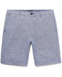 Club Monaco - Maddox Slim-fit Houndstooth Slub Linen Shorts - Lyst