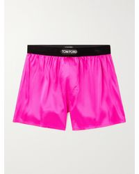 Tom Ford Velvet-trimmed Stretch-silk Satin Boxer Shorts - Pink