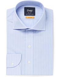 Drake's - Light-blue Cutaway-collar Striped Cotton Shirt - Lyst
