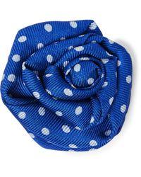 Charvet Polka-dot Silk-faille Flower Lapel Pin - Blue