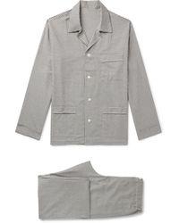 Anderson & Sheppard Gingham Brushed-cotton Pyjama Set - Grey