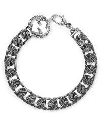 Gucci Logo-detailed Burnished Sterling Silver Bracelet - Metallic