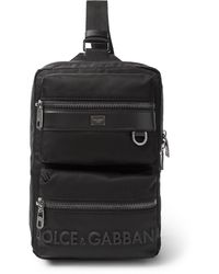 Dolce & Gabbana Convertible Logo-detailed Leather-trimmed Nylon Bag - Black