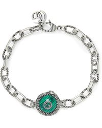 Gucci Burnished Sterling Silver And Resin Bracelet - Metallic