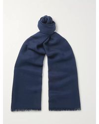 Loro Piana Fringed Cashmere And Silk-blend Scarf - Blue