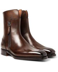 Ermenegildo Zegna - Polished-leather Boots - Lyst